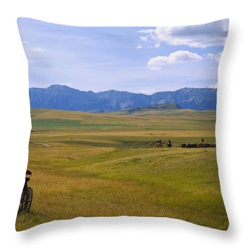 Cowboys And Wagon On A Cattle Drive Throw Pillow by Carson Ganci