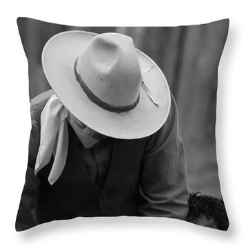 Cowboys Signature Throw Pillow by Diane Bohna