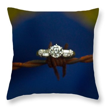 Cowgirl Engagement Ring 1 Throw Pillow by Douglas Barnett