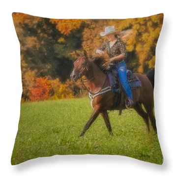 Cowgirl Throw Pillow by Susan Candelario