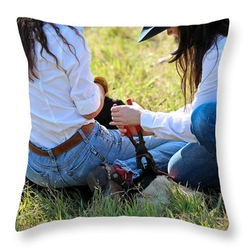 Cowgirls At Work Throw Pillow by Elizabeth Hart