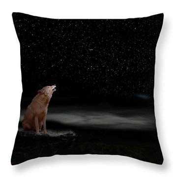 Throw Pillow featuring the photograph Coyote Howling At Moon by Dan Friend