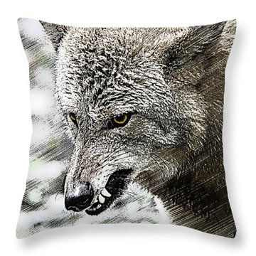 Coyote Snarling Throw Pillow by Dan Friend
