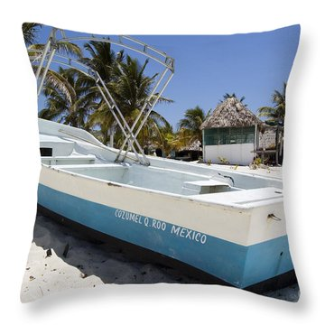 Throw Pillow featuring the photograph Cozumel Mexico Fishing Boat by Shawn O'Brien