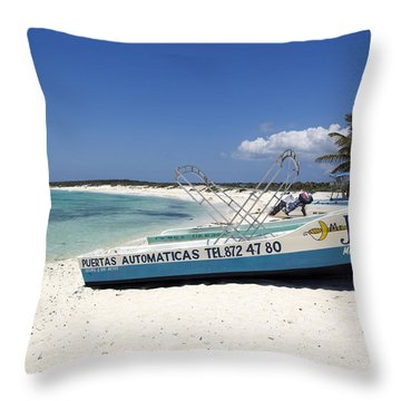 Throw Pillow featuring the photograph Cozumel Mexico Fishing Boats On White Sand Beach by Shawn O'Brien