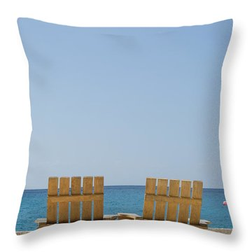 Throw Pillow featuring the photograph Cozumel Mexico Poster Design Beach Chairs And Blue Skies by Shawn O'Brien