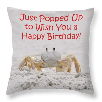 Crab Happy Birthday Throw Pillow