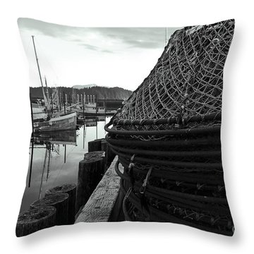 Crab Traps Throw Pillow by Darcy Michaelchuk