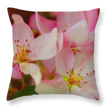 Crabapple Floral Paint Throw Pillow by Donna Munro