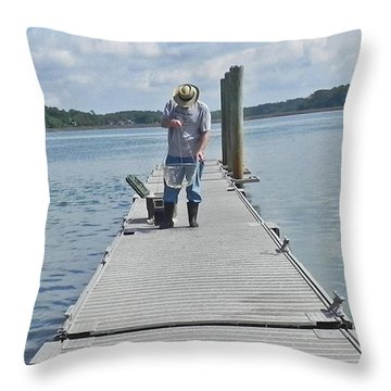 Throw Pillow featuring the photograph Crabber Man by Patricia Greer