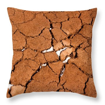 Throw Pillow featuring the photograph Cracked Red Soil  by Les Palenik