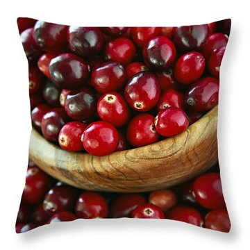 Cranberries In A Bowl Throw Pillow by Elena Elisseeva