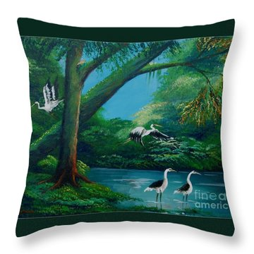Cranes On The Swamp Throw Pillow