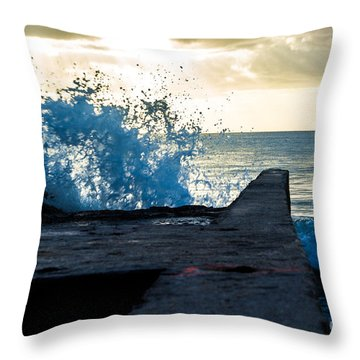 Crashing Blue Throw Pillow by Rene Triay Photography