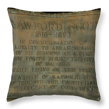 Crawford Scott Historical Marker Throw Pillow by Randy Bodkins