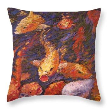 Crazed Clear Creek Koi Throw Pillow by Charles Munn