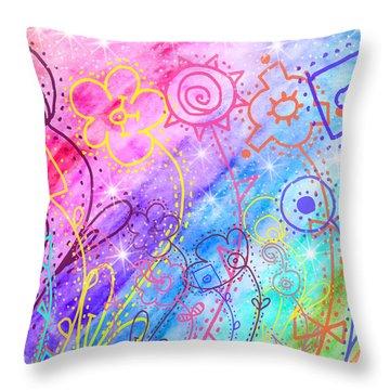 Crazy Flower Garden Throw Pillow by Debbie Portwood