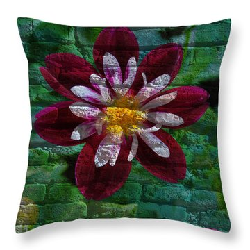 Crazy Flower Over Brick Throw Pillow