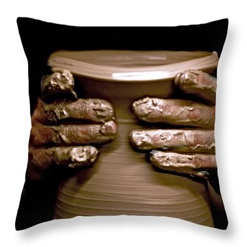 Creation At The Potter's Wheel Throw Pillow