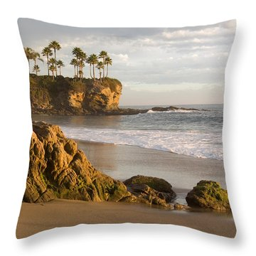 Crescent Bay Beach Laguna Throw Pillow