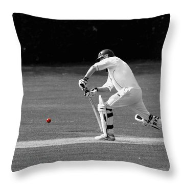 Cricketer In Black And White With Red Ball Throw Pillow