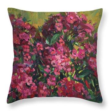 Crimson Phloxes Throw Pillow