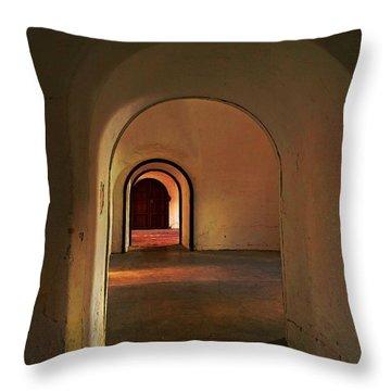 Throw Pillow featuring the photograph Cristobal Corridor by Deborah Smith