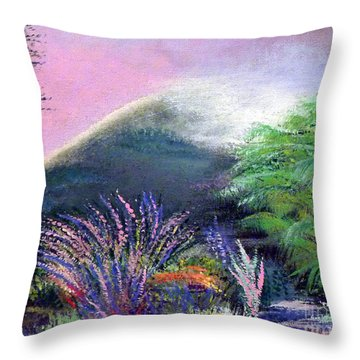 Throw Pillow featuring the painting Croagh Patrick by Alys Caviness-Gober