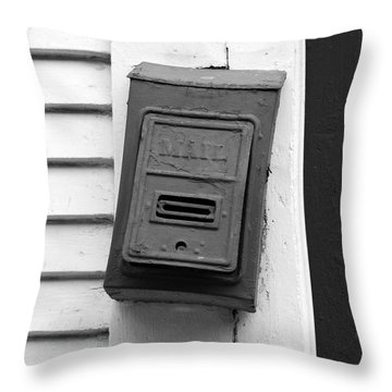 Crooked Old Fashioned Metal Green Mailbox French Quarter New Orleans Black And White Throw Pillow by Shawn O'Brien