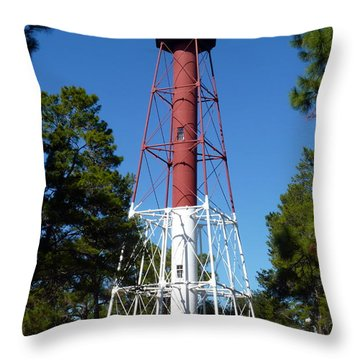 Crooked River Lighthouse Throw Pillow by Carla Parris
