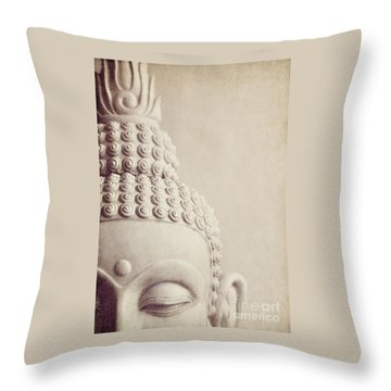 Cropped Stone Buddha Head Statue Throw Pillow by Lyn Randle
