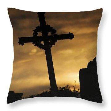 Cross At Sunset Throw Pillow by John Short