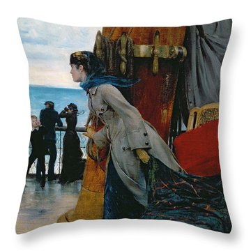 Cross Atlantic Voyage Throw Pillow by Henry Bacon