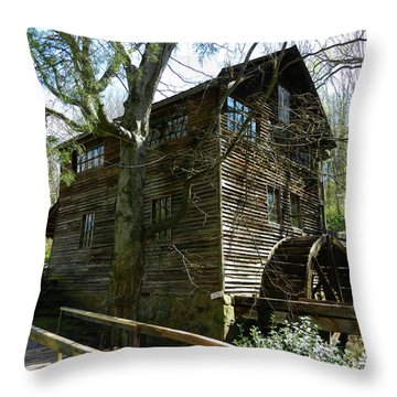 Throw Pillow featuring the photograph Cross Eyed Cricket Grist Mill by Paul Mashburn