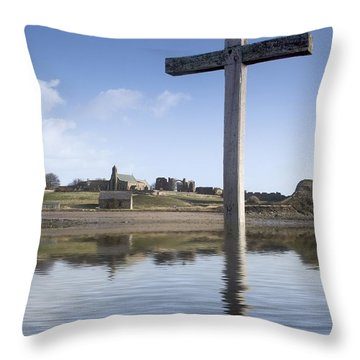 Throw Pillow featuring the photograph Cross In Water, Bewick, England by John Short