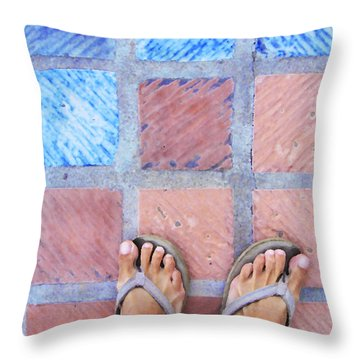 Throw Pillow featuring the photograph Cross-legged On A Colorful Sidewalk by Anne Mott