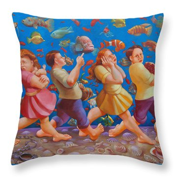 Crossing The Red Sea Throw Pillow by Rosemarie Adcock
