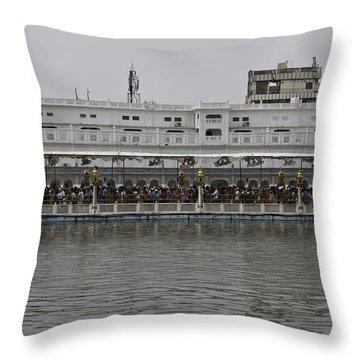 Throw Pillow featuring the photograph Crowd Of Devotees Inside The Golden Temple by Ashish Agarwal