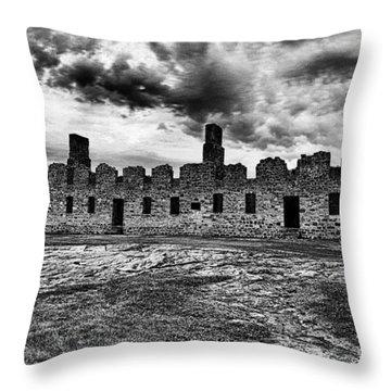 Crown Point Barracks Black And White Throw Pillow