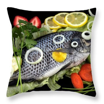 Crucian Fish With Vegetable Throw Pillow by Paul Ge