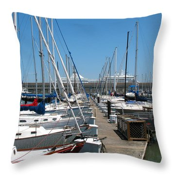 Cruise Ship And Sailboats Pier 39 Throw Pillow by Connie Fox