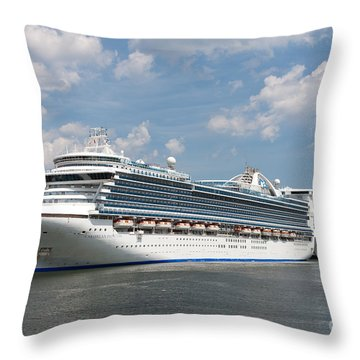 Cruise Ships At Cruiseport Boston Throw Pillow by Clarence Holmes