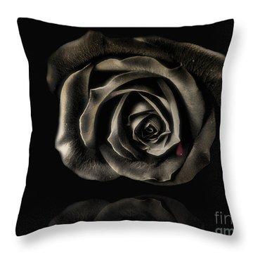 Crying Black Rose Throw Pillow