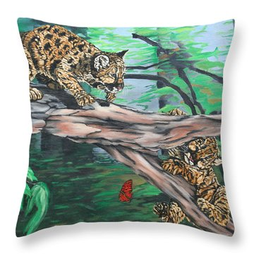 Cubs At Play Throw Pillow by Wendy Shoults