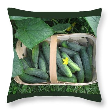Cucumbers In Garden Basket Throw Pillow