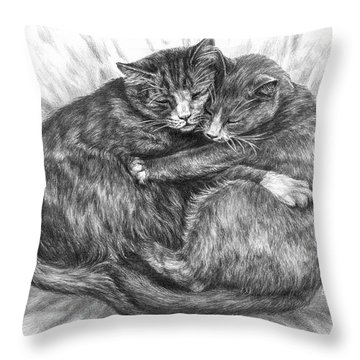 Cuddly Cats - Black And White Art Print Throw Pillow
