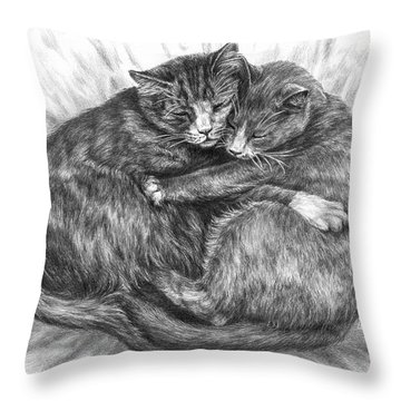 Cuddly Cats - Black And White Art Print Throw Pillow by Kelli Swan
