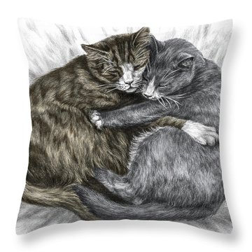 Cuddly Cats - Color Tinted Art Print Throw Pillow