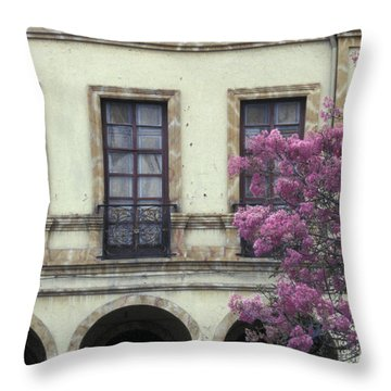 Throw Pillow featuring the photograph Cuenca Facade Ecuador by John  Mitchell
