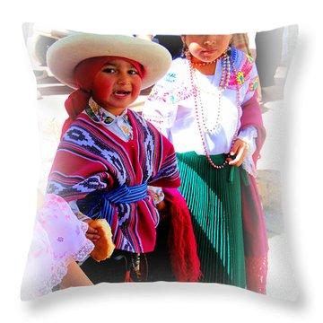 Cuenca Kids 191 Throw Pillow by Al Bourassa